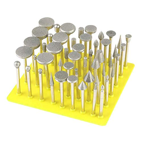 Ontracker Pack of 50 Diamond Coated Grinding Head Glass Burr for Precision Tools