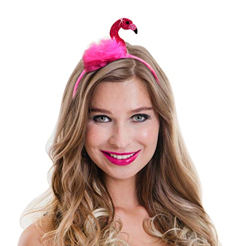 Amakando Encantadora Joya para el Cabello Flamenco Rosa para Dama / Rosa neón / Adorno para la Cabeza Ave Graciosa / Inmejorable para Fiestas temáticas y Fiesta de Disfraces