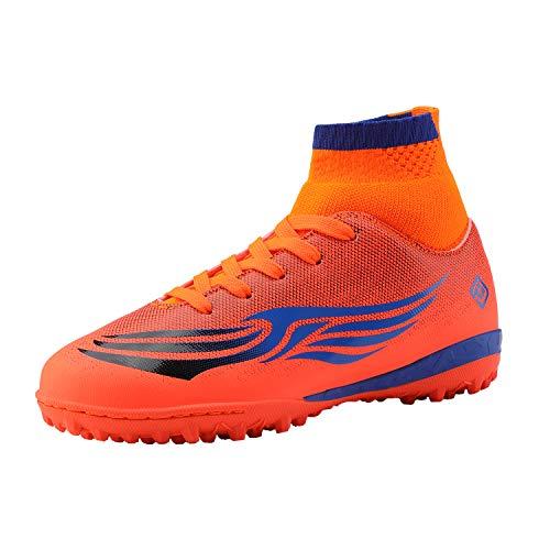 DREAM PAIRS Boys Girls Turf Indoor Outdoor Soccer Football Shoes Orange Blue Size 2 M US Little Kid HZ19008K