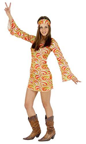 Foxxeo buntes 60er 70er Jahre Hippie Kleid mit Stirnband für Damen sexy Karneval Fasching Kostüm Party Größe M