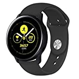 VICARA for Galaxy Watch Active2 44mm/40mm/Galaxy Watch Active 40mm/Garmin vivoactive 3/Galaxy Watch 42mm バンド 20mm 交換用ベルト 柔らかいシリコン for ギャラクシーウォッチ Active 多色選択(B-ブラック)