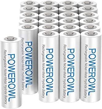 □単4形24個パック 単4形24個パック Powerowl単4形充電式ニッケル水素電池24個セット 大容量 自然放電抑制 環