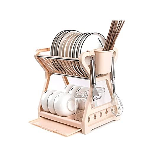 Dpliu Tazón de Plato de Cocina de Doble Capa Que drena el Estante de Almacenamiento de Drenaje con la Jaula de Palillos Organizador de vajilla para el hogar Bandeja (Color : Gpat, Size : 2 Tier)