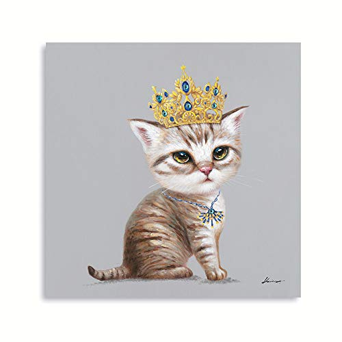 B BLINGBLING Crown Cat Canvas Wall Art: Cute Funny Cat Painting with Crown Framed Cat Pictures for Girl's Bedroom Bathroom Ready to Hang (12'x12'x1Panel)
