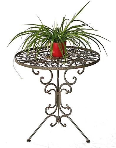 GXK Tisch Bistrotisch Antik Rund Gartentisch Metall Eisentisch Balkontisch