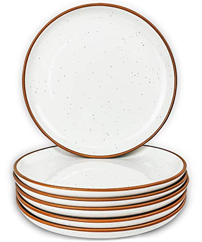 Mora Ceramic Plates Set, 7.8 in - Set of 6 - The Dessert, Salad, Appetizer, Small Dinner etc Plate. Microwave, Oven, and Dishwasher Safe, Scratch Resistant. Kitchen Porcelain Dish - Vanilla White