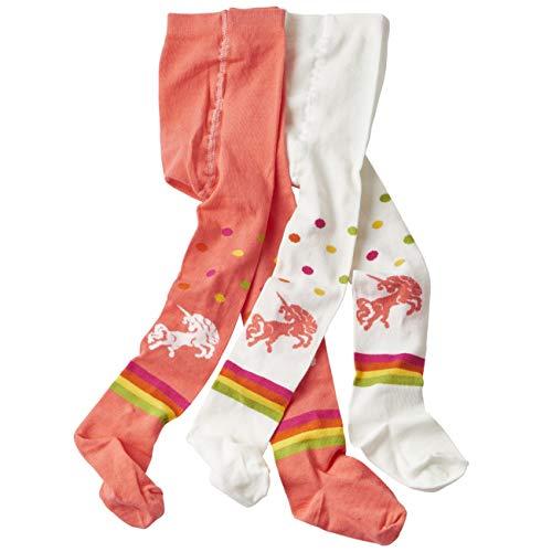 wellyou baby/kinder strumpfhosen für mädchen/jungen, babystrumpfhose/kinderstrumpfhose koralle/weiß Einhorn 2er set 86-92