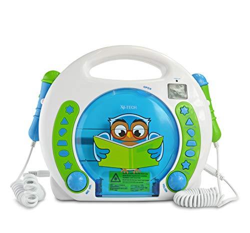 X4-TECH Bobby Joey Eule - Kinder CD-Player MP3 Karaoke Hörbücher 2 Mikrofone - inkl Netzteil + gratis Alarm