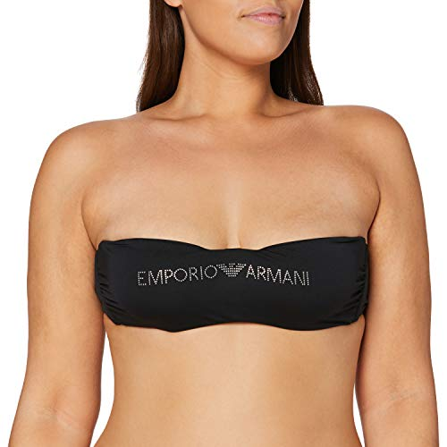 Emporio Armani Swimwear Damen Swimwear Padded Band Bra Beachwear Logo MARINIèRE Bikinioberteil, Schwarz (Nero 00020), 38 (Herstellergröße: M)