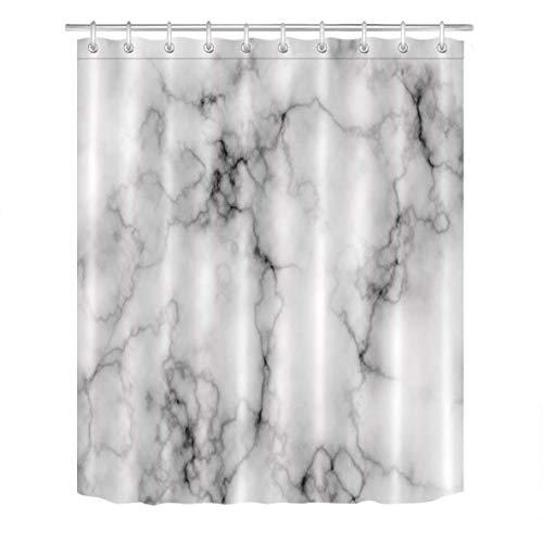 N \ A Duschvorhang-Set Domolite mit grauem Marmortextur, luxuriös, prägnant, Granit, Badezimmerdekoration, Pixelatgrau, Badezimmervorhang mit Haken, 183 x 183 cm, wasserdichtes Polyestergewebe