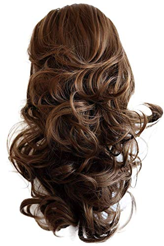 PRETTYSHOP 30cm Haarteil Zopf Pferdeschwanz Haarverlängerung Voluminös Gewellt Hellbraun PH206
