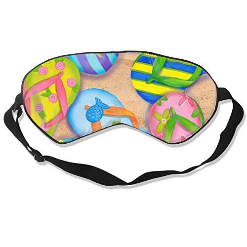 Strand-Flip-Flops Schlafmaske für Damen und Herren, modisch, niedlich, Persönlichkeit, bequem, atmungsaktiv, Lichtblock, Augenmaske für überall, Schlaf, verstellbarer Riemen, Augenmaske