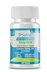 ACTIVE INGREDIENT: The active ingredient in this product is Loratidine, an antihistamine approved for the treatment of both indoor and outdoor allergy symptoms. Compare Safrel Non-Drowsy 24 Hour Allergy Relief to the active ingredient of Claritin. NO...