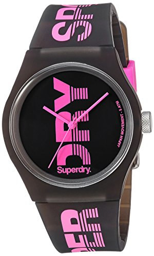 Superdry Damen Analog Quarz Uhr mit Silikon Armband SYL189BP