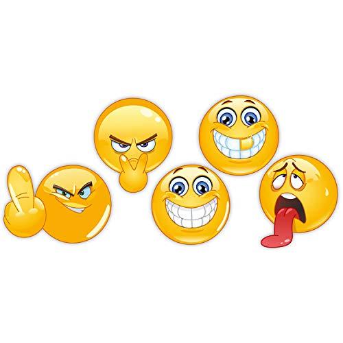 easydruck24de 5er Set Smiley-Aufkleber I kfz_032 I Ø 5 cm rund gelb wetterfest I Sticker für Motorrad Mofa Roller Fahrzeug-Aufkleber Auto-Aufkleber Notebook Laptop