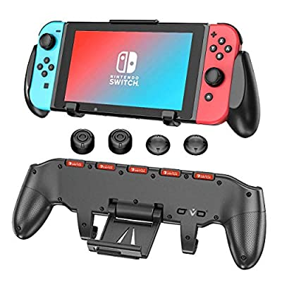 OIVO Switch Pro Hand Grip for Nintendo Switch, Ergonomic Comfort Asymmetrical Grip with Upgraded Adjustable Stand and 5 Game Slots for Nintendo Switch - Thumb Caps Included