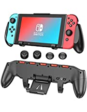 Switch Pro Grip with Upgraded Adjustable Stand for Nintendo Switch, OIVO Asymmetrical Grip with Upgraded Adjustable Stand/Cartridge Holders and 5 Game Slots- 4 Thump Caps Included