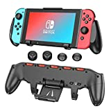 Switch Grip with Upgraded Adjustable Stand Compatible with Nintendo Switch, OIVO Asymmetrical Grip with Upgraded Adjustable Stand/Cartridge Holders and 5 Game Slots- 4 Thump Caps Included