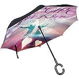 Elxf Paraguas invertido Dancing Love Sombrilla inversa de Doble Capa para automóvil y Uso en Exteriores con protección UV a Prueba de Viento con
