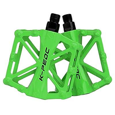 boruizhen Bike Platform Pedals Lightweight Road Cycling Bicycle Pedals for MTB BMX (Green)