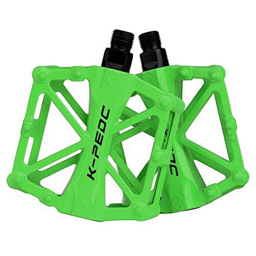 boruizhen Aluminium CNC Bike Platform Pedals Lightweight Road Cycling Bicycle Pedals for MTB BMX (Green)