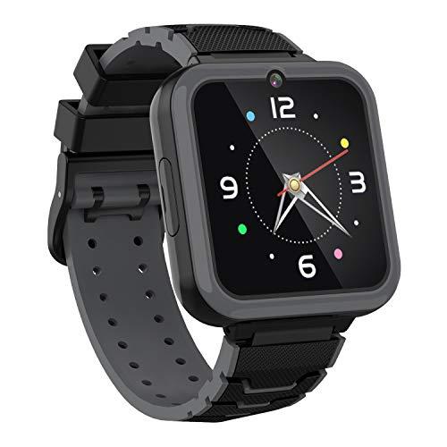 Smartwatch für Kinder,HD Touchscreen Smartwatch Kiner mit Telefon Taschenlampe Musikplayer SOS Kamera Wecker Usw,Geeignet für Geburtstagsgeschenke 3-12(Schwarz)