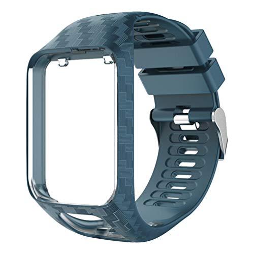 ibasenice Correa Compatible para Tomtom Runner 2/Runner 3/Spark/Spark 3/Adventurer/Golfer 2 - Correa de Reloj de Reemplazo de Grano Tallado de Silicona con Correa de Reloj Inteligente