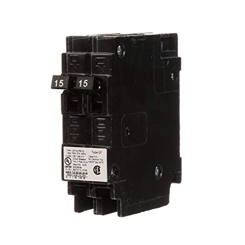 Siemens Q1515 Two 15-Amp Single Pole 120-Volt Circuit Breakers, for use only where Type QT breakers are allowed