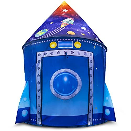 FoxPrint Tienda de campaña Rocket Ship para niños, Nave Espacial Pop-up para Interiores y Exteriores, casa de Juego de Astronauta y Pop-up rápido, Marco de Alambre Flexible con Puerta Enrollable