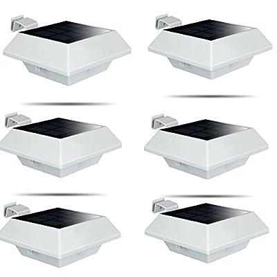 UniqueFire Outdoor Solar Gutter Lights, 12 LEDs Outdoor Solar Fence Lights Outdoor Waterproof Security Lamps for Eaves Garden Landscape Walkway