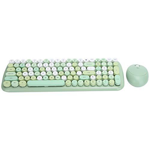 Juego de Mouse con Teclado inalámbrico 2.4G, Mouse con Teclado Vintage Estilo máquina de Escribir, Tapas de Teclas Redondas Retro para computadora portátil, Tableta(Verde)