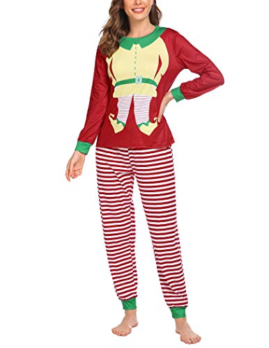 Ekouaer Funny Pajamas Print Pjs Holiday Sleepwear Set Red Striped Pajamas Christmas PJs Sets for Women Plus Size