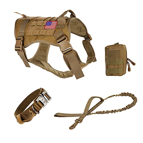 Pruk Tactical Dog Harness Set, K9 Dog Harness Military Dog Vest Collar Leash with Molle Pouch and Patch, No Pull Tactical Dog Vest for Large Dog, Service Dog Harness for Training Hiking(Khaki, XL)