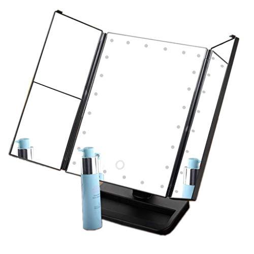 Espejo de Maquillaje Iluminado encimera de Escritorio Led Espejo 24 Luces de Belleza Espejo Giratorio de 360 Espejo de baño Espejo de sensores táctiles (Color : Black, Size : 380x250x170mm)