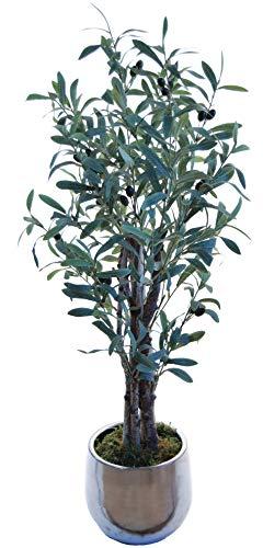 Maia Shop Olivenbaum mit Naturstämmen, Ideal für Inneneinrichtung, Baum, Künstliche Pflanze (105 cm), Olive