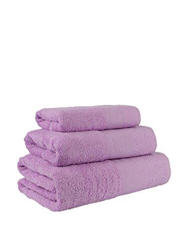Flor de Algodón Panama Juego de 3 toallas algodón, LILA, 30x50, 50x90, 100x140, 3