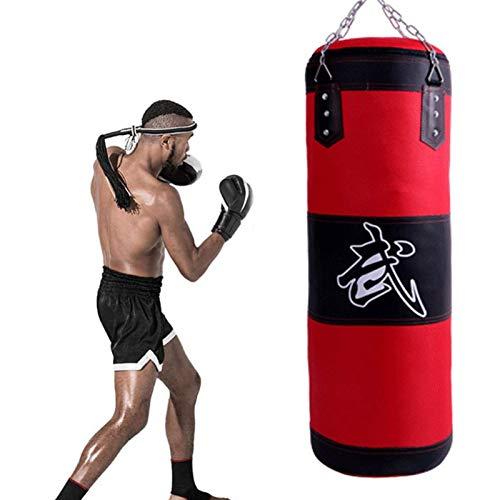 Boxsack,Punchingsäcke, Hohle Boxenbeutel, PU-Leder schwere Boxbeutel hängen, Stanztasche schwerer Punch-Kickboxing-Tasche + Kette, zum Trauben, Kickboxen, Muay Thai, Karate, Taekwondo (Größe: 120cm)