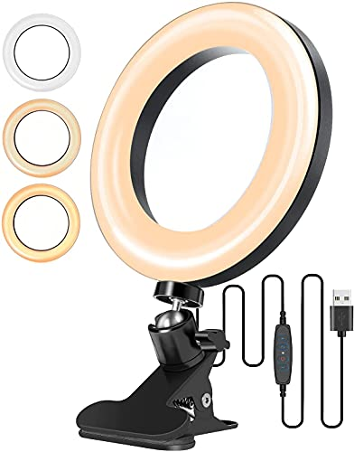 Video Conference Lighting, 6.3 Zoom Calls Ring Light for Computer, Laptop, PC, Desk, with 3 Light Modes 11 Level, Ring Light Clip On for Remote Working, Distance Learning Video Conferencing, Meeting