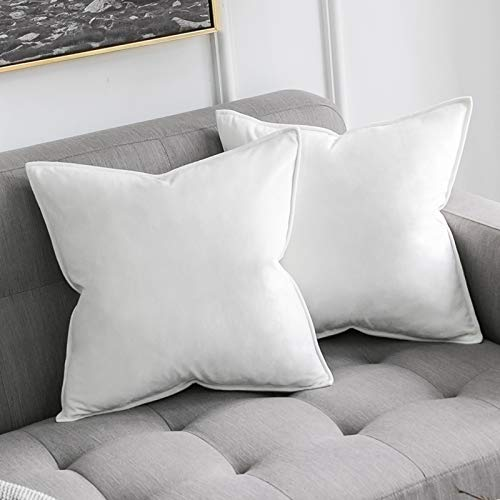 MIULEE Pack of 2 Velvet Soft Decorative Square Throw Pillow Case Flanges Cushion Covers Pillowcases for Livingroom Sofa Bedroom with Invisible Zipper 45cm x 45cm 18x18 Inch Set of Two Pure White