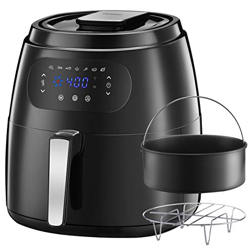 OMORC 7QT Large Air Fryer w/Capacity Expansion Rack & Cake Pan, 1700W Air Fryer XXL Oven w/Digital Screen, Hot Air Fryer Cooker w/Keep Warm Function, 8-15 modes, Recipe(ME181)