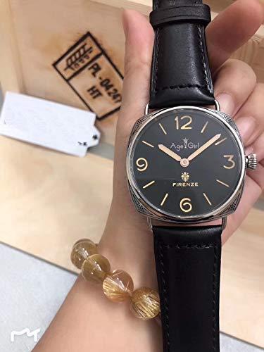 PLKNVT Männer Automatische Mechanische Saphir Edelstahl Uhren Gravieren Muster Schwarz Leder Leuchtende Limitierte Uhr AusSchwarzem Leder