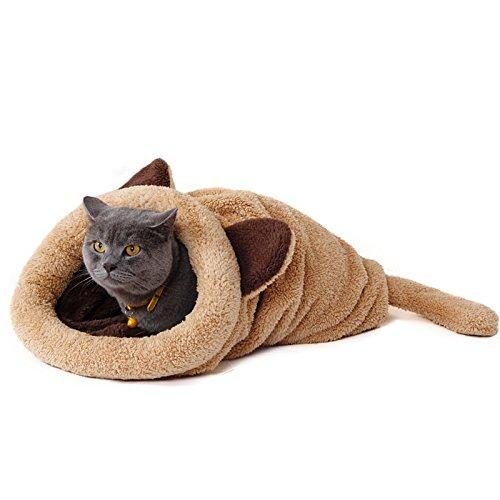 PAWZ Road Katzen Schlafsack waschbar bequem Haustier Kissen Katzenbett Kuschelhöhle aus Fleece für Katzen, Kleintiere oder Welpen Beige&Braun&Grau&Rosa