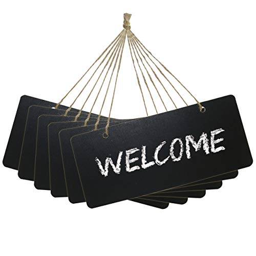 Chalkboard Hanging Signs Erasable Wood Rectangle Small Vintage Rustic Blackboard Message Memo Display for Wedding, Bar, Restaurant, Kitchen Pantry & Wall Decor, 6 Pack