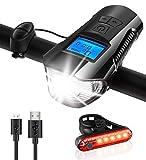 CPZ 3 Set en una luz de la Bicicleta, 1000 lúmenes Recargable del Faro Moto USB y la luz Trasera, IPX6 Altavoces Impermeables + + tacómetro Pantalla, Equipo de la Bicicleta