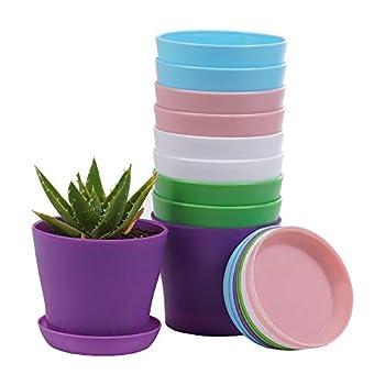 10 Pcs Plastic Planters Indoor Flower Plant Pots Mini Flower Seedlings Nursery Pot/Planter/Flower Pot with Pallet Modern Decorative Gardening Containers …