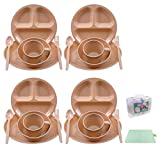 Camping Dish Set 26 Pieces Dinnerware Set with Camping Plates Cups and Bowls Eating Utensils,4 Person Backpacking Gear with Carrying Case and Large Picnic Blanket for Camp Picnic BBQ Outdoor Party
