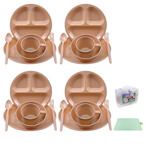Camping Dish Set 26 Pieces Dinnerware Set with Camping Plates Cups and Bowls Eating Utensils,4 Person Backpacking Gear with Carry Case and Large Picnic Blanket