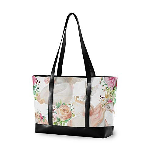 RELEESSS Tote Laptop Bags Animal Unicorn Flower Handbag Shoulder Bag Laptop Case for Women Ladies Girls