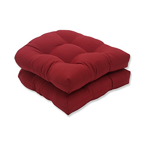 Pillow Perfect Outdoor/Indoor Pompeii Tufted Seat Cushions (Round Back), 19' x 19', Red, 2 Pack