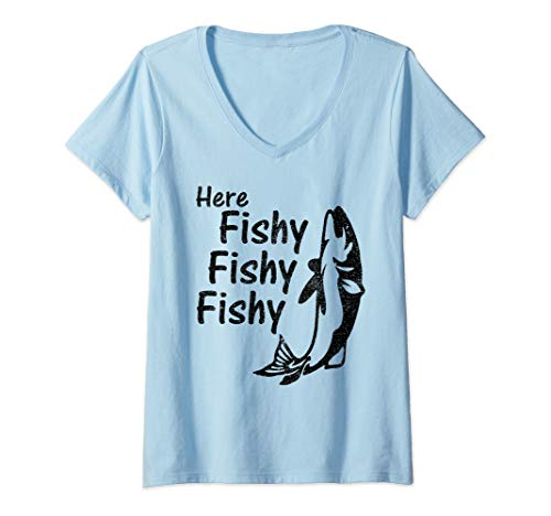 Womens Rod And Reel Spinning Funny Fly Fishing Meme Gift V-Neck T-Shirt